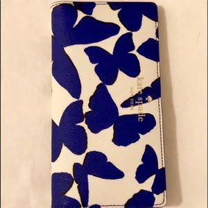 NWOT Kate Spade white/blue Butterfly wallet